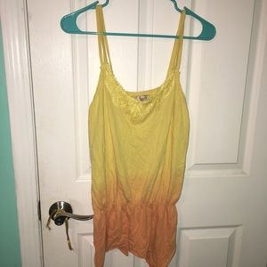 Yellow and orange ombré tank top